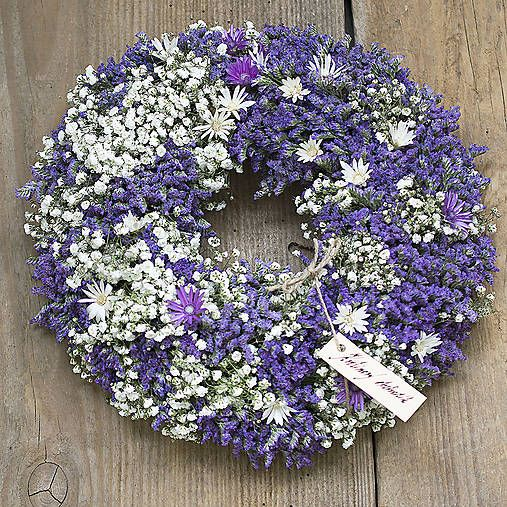 Dry flowers wreath, purple and white