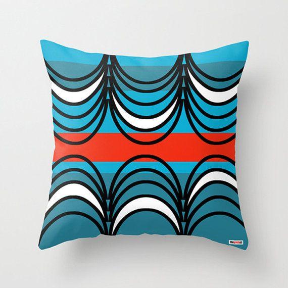 Blue and Black Decorative throw pillow cover - Geometric pillow cover - contemporary pillow - Designer pillow - Modern pillow cover