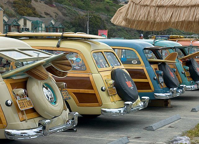 Woodies, surf's up!  The genuine wood woodies were primarily in the 1950s.....synthetic wood woodies were in the 1960s.