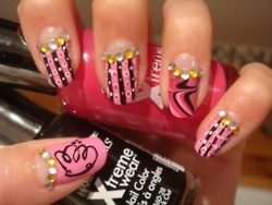 Pink and Black Jeweled Nails