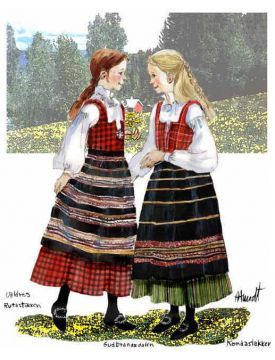 Illustrations of two simple bunads from Oppland - rutastakken fra Valdres (left) and rondastakken fra Gudbrandsdalen (right).