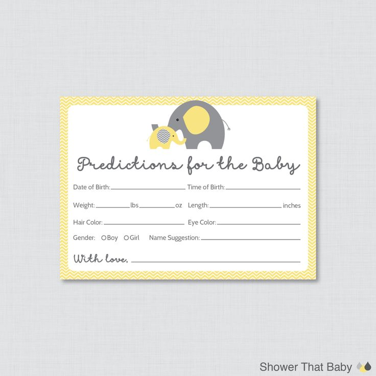 Elephant Baby Shower Prediction Cards Instant by ShowerThatBaby