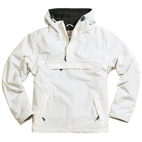 Surplus Windbreaker Anorak Hooded Mens Rain Jacket with Fleece White: Amazon.co.uk: Clothing