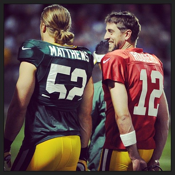 Awesome butt shot view!!  Clay Matthews and Aaron Rodgers in August at Training Camp 2013.    Image © Packers @ Instagram