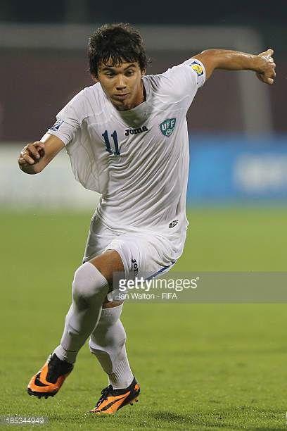 Akobir Turaev of Uzbekistan during the Group C FIFA U17 World Cup between Panama and Uzbekistan at Fujairah Stadium on October 18 2013 in Fujairah...