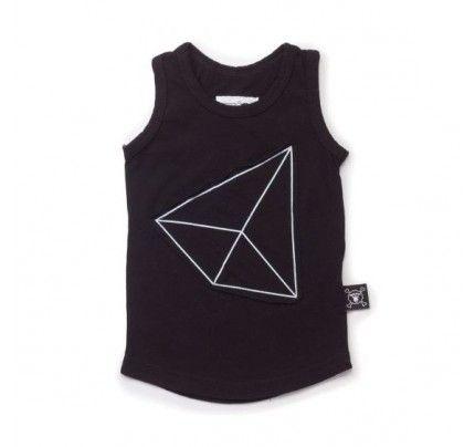 Geometric Patch Tank Top Black by cool kids brand Nununu.  Available at www.babydino.com.au