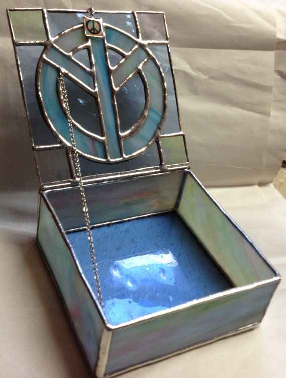 Stained Glass Jewelry Box  Peace Sign Box  Tie by PeaceLuvGlass, $38.00