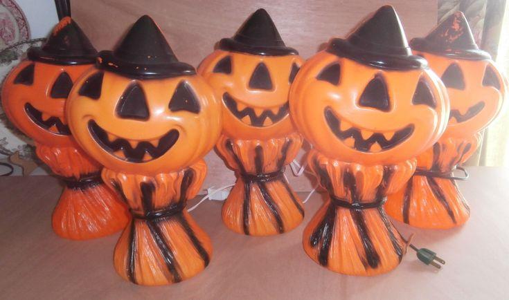 5 plastic Jack o'lantern pumpkin on straw bale light up blow mold works ($29 each) 2017. #Vintage #Halloween #collectibles