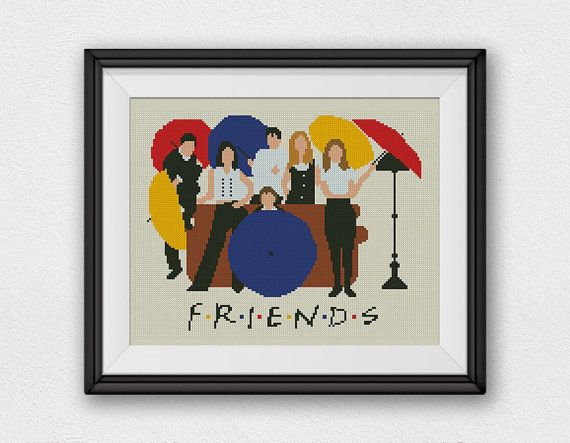 BOGO FREE! Friends, Cross Stitch Pattern, Lounge Central Perk Friends TV Show Embroidery Needlework Instant Download #027-2