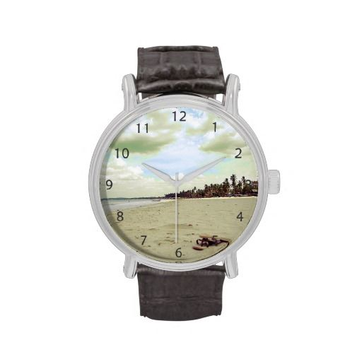 A beautiful sand beach surrounded by palm trees, somewhere in the tropics / Vintage Leather Strap Wrist Watch #fomadesign