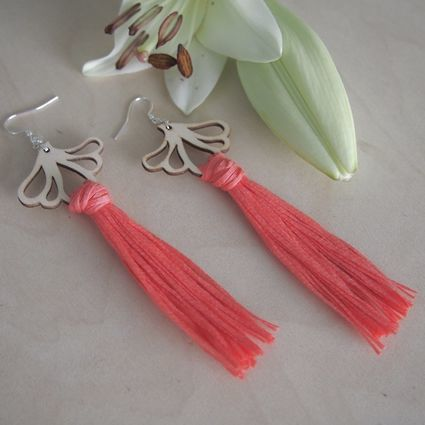 Aurora, coral | Weecos > Statement Earrings > Handmade in Kuopio > Design from Finland > Birch Plywood and Cotton Tape Yarn > Silver-Plated Metal