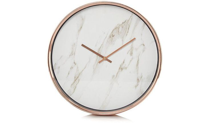 Bring a modern aesthetic into your home with this stylish marble effect clock from George Home. Designed with a slim copper frame and hands, it features a ma... #DressingYourHome