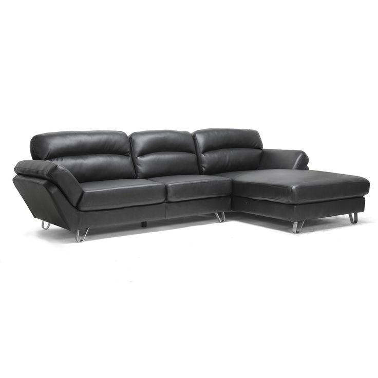 Baxton Studio 'Raimey' Modern Leather Sectional Sofa | Overstock.com