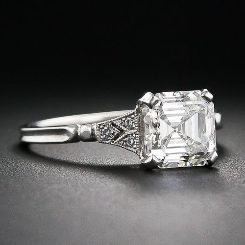 2.00 Asscher-Cut Diamond Engagement Ring - 10-1-6105 - Lang Antiques