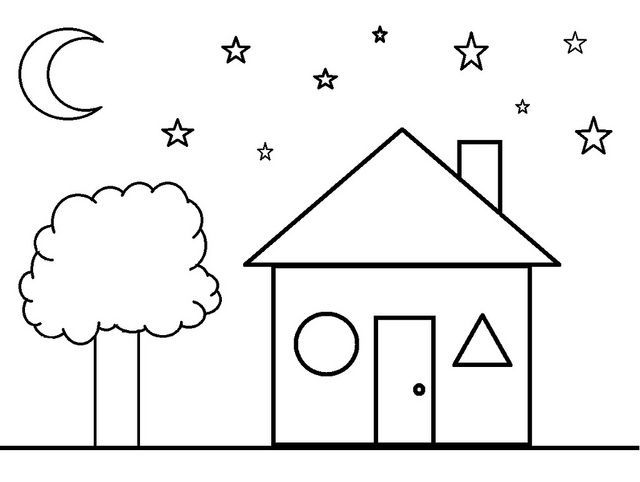Shapes Coloring Pages | Shape coloring pages, House