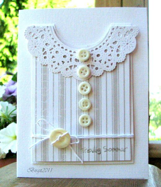 """I did this romantic summer tank top card with the doily as a kind of frill. The doily is a Cherry Lynn die and I added some old buttons. The sentiment says """"Have a nice Summer"""""""