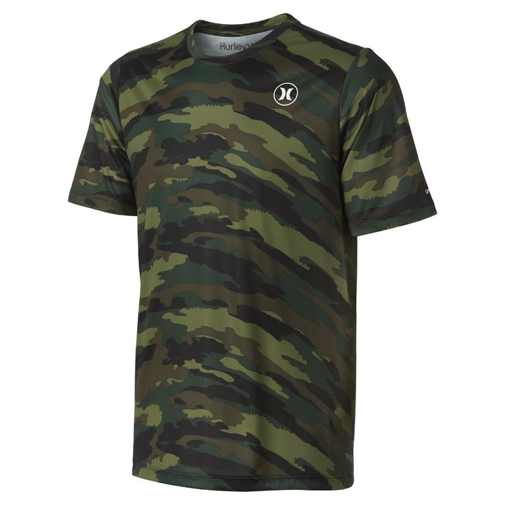 Hurley Dri-FIT Icon Camo Men's Surf Shirt Size Medium (Olive) - Clearance Sale