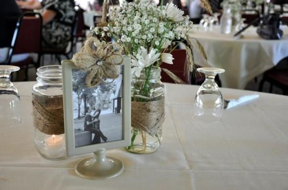 Mason Jar and Tolsby Frame Bliss :  wedding mason jar tolsby centerpiece rustic white ivory bouquet inspiration diy reception Table Setting