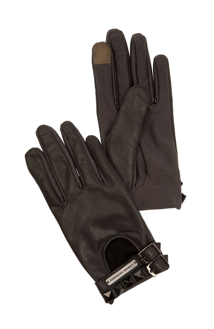 Armani exchange black leather gloves - Armani Exchange Embroidered Leather Gloves