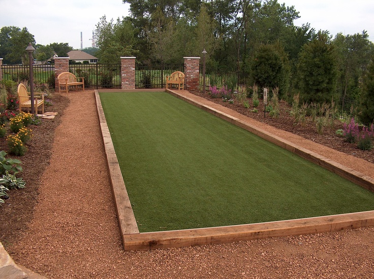 Crushed granite path surrounding a boccie ball court