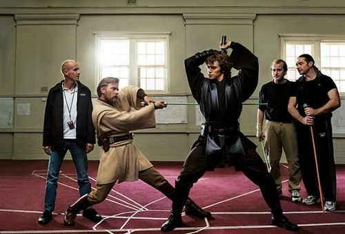 Ewan McGregor & Hayden Christensen at Lightsaber practice - Star Wars Revenge of the Sith I love behind the scenes stuff from these movies :3