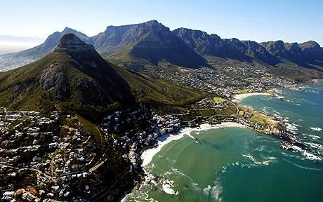 Table Mountain and Devil's Peak at Cape Town, South Africa.