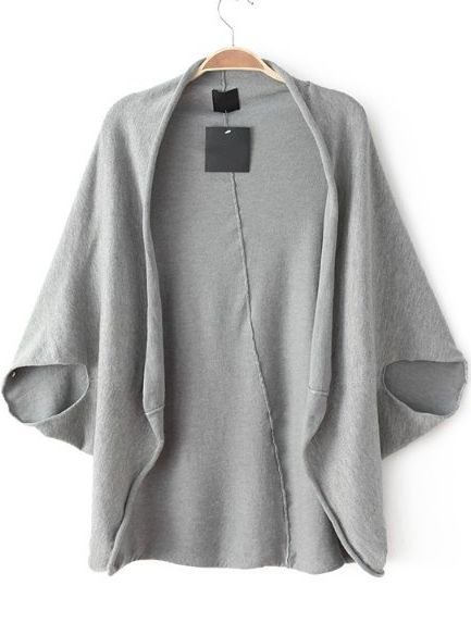 Grey Batwing Sleeve Loose Knit Top - Sheinside.com