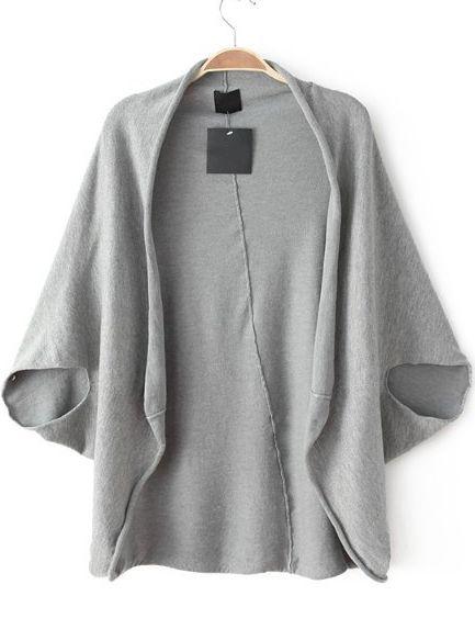 Grey Batwing Sleeve Loose Knit Top - Sheinside.com