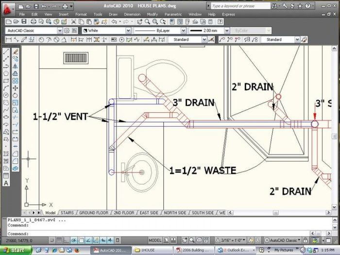 Good example of cad plumbing drawing 2nd story addition for Plumbing remodeling