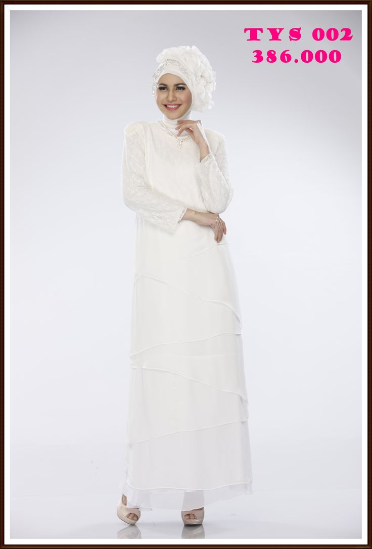 Gamis Putih aksen tumpuk, canti, anggun dan mempesona