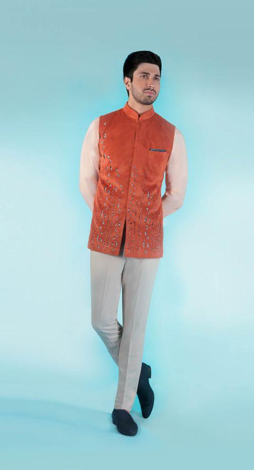 SS HOMME Rust bandhi with nehru shirt and trousers.  #summerresort #summercruise #bandi #cutwork #groom #weddingcollection #weddings