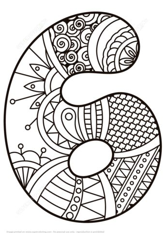 Number 6 Zentangle coloring page from Zentangle Numbers category. Select from 21162 printable crafts of cartoons, nature, animals, Bible and…