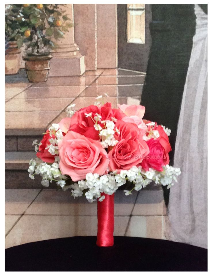 This listing is for 1 Guava and Parfait Bouquet (10 in diameter) created with Guava Silk Roses, Parfait Silk Roses, White Babys Breath, Coral Hydrangea and finished with Guava Satin Ribbon.  Your artificial Guava Bridal Bouquet was designed to compliment Davids Bridal Guava and Parfait colors. Need more or less? Message me for a consultation, quote or custom listing on eBay.  Complete your Guava Wedding Bouquet Set with:   Guava Bridesmaids bouquets (8 in diameter) $35 each   Guava Toss away…