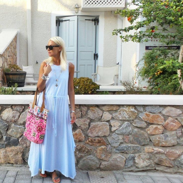 Style blogger Anna Mavridis spotted wearing a stack of Cassie Louise bracelets in Santorini!