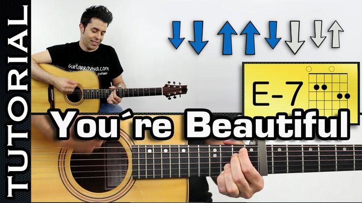 Como tocar James Blunt - You're Beautiful Con la intro en guitarra Tutor...