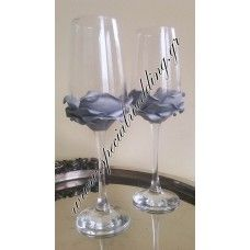 Ποτήρι σαμπάνιας γάμου ασήμι τριαντάφυλλο Champagne glass Silver rose