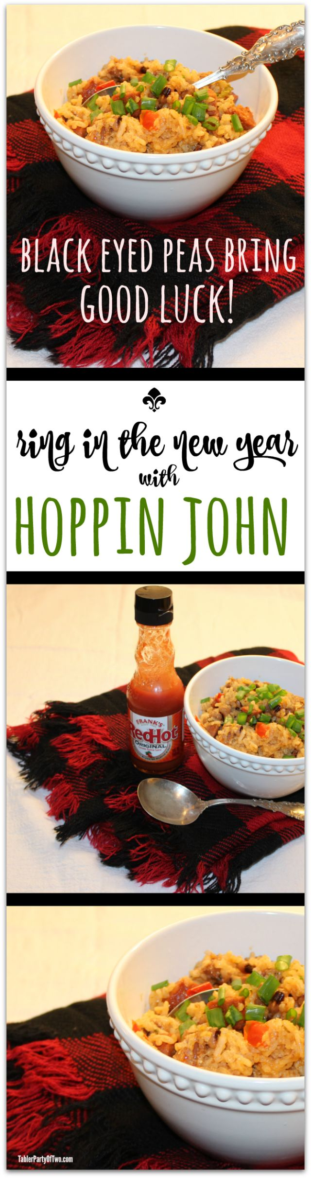 Ring in the New Year with Lucky Hoppin John with black eyed peas and more! This easy to make recipe is a crowd pleaser... absolutely delish! TablerPartyofTwo.com