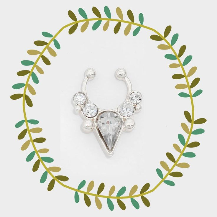 Jeweled Faux Septum Ring, Fake Nose Piercing