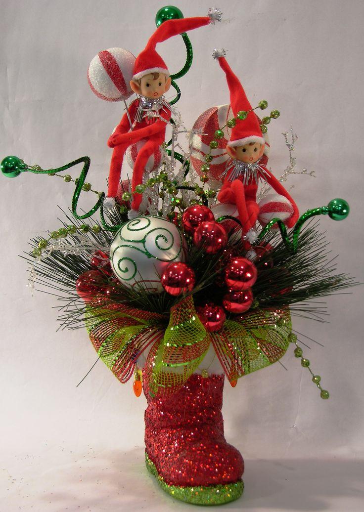 Red Elf Santa Boot Arrangement