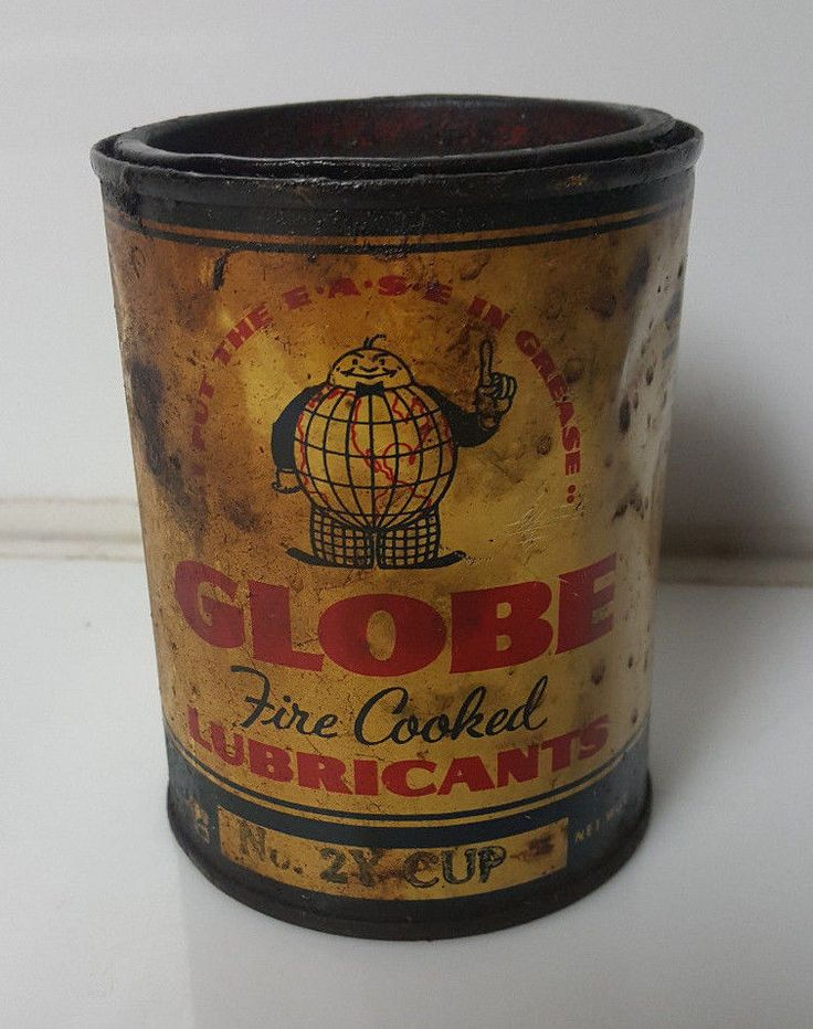 Vintage Oil Can Globe Oil Company Grease Lubricant Fire Cooked Los Angeles Rare