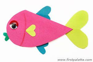 Valentine kids crafts hearts fish