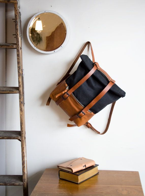 Leather and Waxed Canvas Backpack The ACE Backpack in by AwlSnap