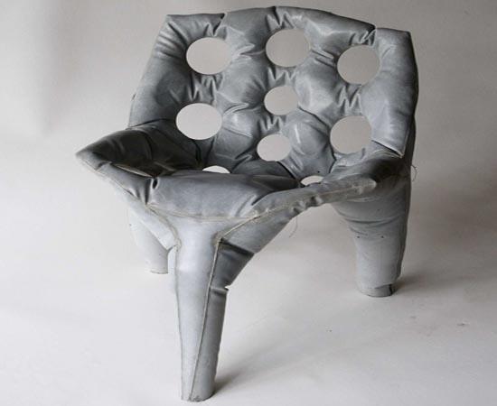 Cast concrete chair
