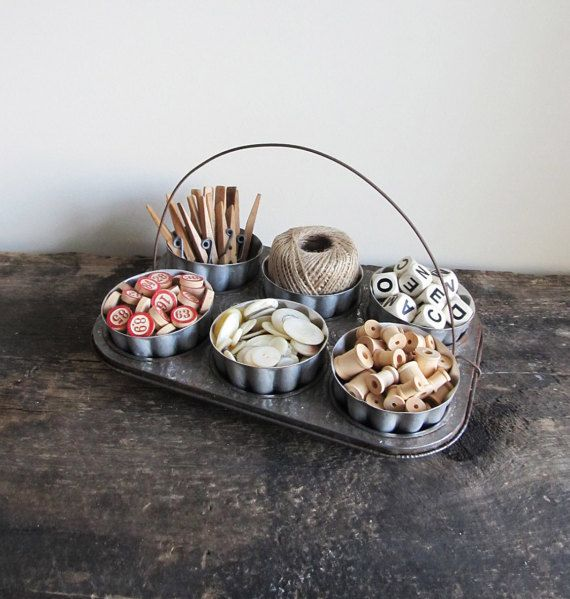 Upcycled Vintage Muffin Pan and Jello Mold Display, Candle Holder or Organizer