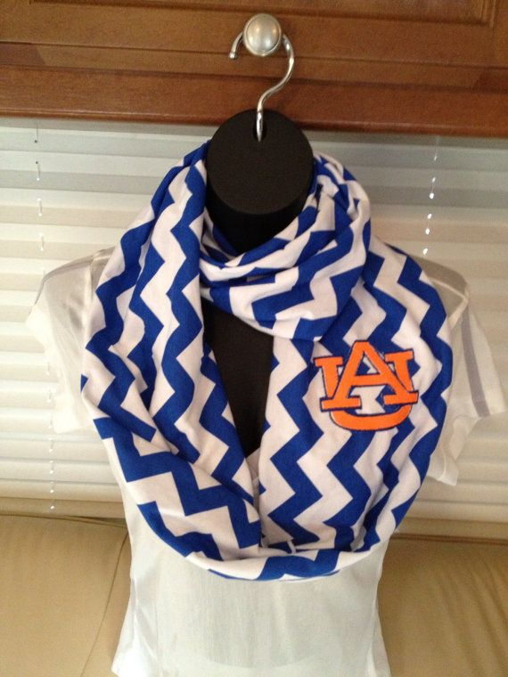Auburn University Royal Blue and White Chevron Infinity Scarf on Etsy,  $22.00