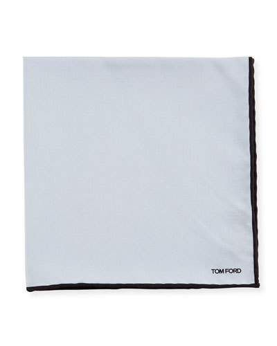 TOM FORD Solid Contrast-Border Silk Pocket Square