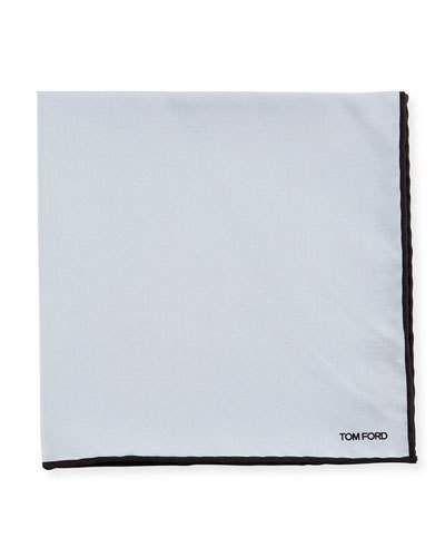TOM FORD Solid Contrast-Border Silk Pocket Square