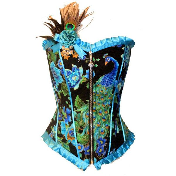Royal Peacock corset (195 BAM) ❤ liked on Polyvore featuring tops, corsets, blusas, shirts, peacock shirt, shirts & tops, lace up top, pleated shirt en zipper corset