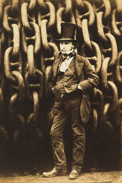 Robert Howlett (1830-1858), 'Isambard Kingdom Brunel and the Launching Chains of the Great Eastern' 1857    This is an iconic portrait of the engineer Isambard Kingdom Brunel (1806- 1859) posed confidently in front of the launching chains of his creation, the massive steamship The Great Eastern. The huge chains form a bold pattern that, despite the subject's top hat, gives this picture a very modern feel.