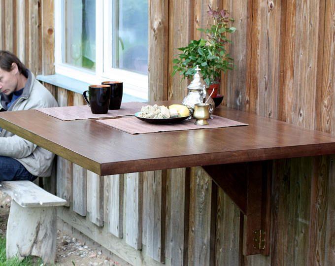 Mesa abatible montado de pared en madera maciza de roble - mesa de Murphy - espacio mesa - mesa - doble hacia abajo del escritorio - mesa plegable de pared